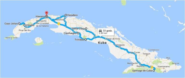 trasa Kuba